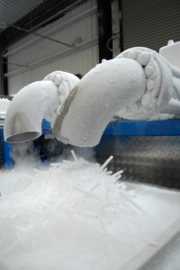 Image of dry ice production - dry ice pellets being manufactured.