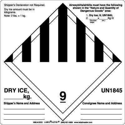 Class 9 Un1845 Dry Ice Label