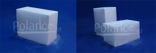 Images of 10kg and 5kg dry ice blocks.
